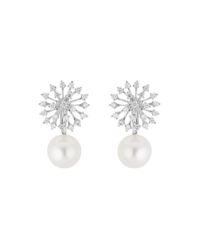 Luminus 18k White Gold Diamond & Pearl Drop Earrings