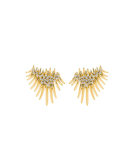 Hueb Tribal 18k Gold Diamond Short Drop Earrings