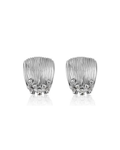 Plisse 18k White Gold Pleated Diamond Earrings