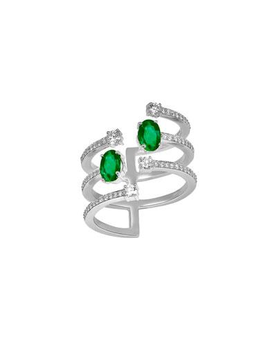 Spectrum 18k White Gold Emerald & Diamond Ring, Size 8