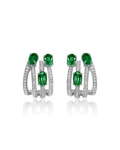 Spectrum 18k White Gold 3-Emerald & Diamond Earrings