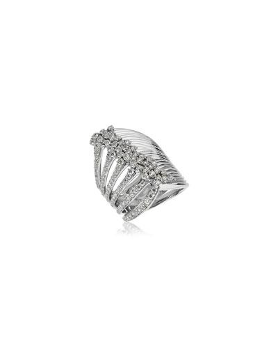 Plisse 18k White Gold Split Diamond Ring