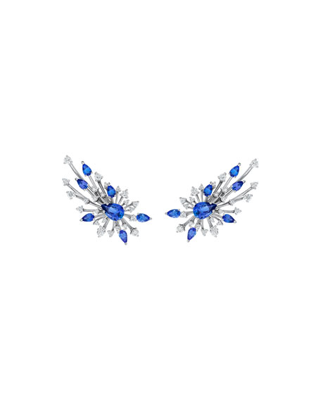 Hueb Luminus 18k White Gold Tanzanite & Diamond Earrings