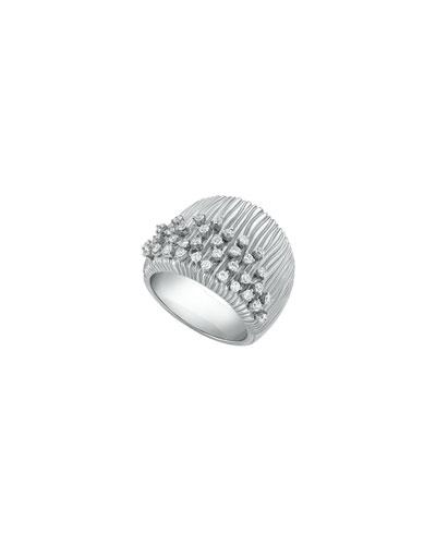 Plisse 18k White Gold Pleated Diamond Ring, Size 7.75