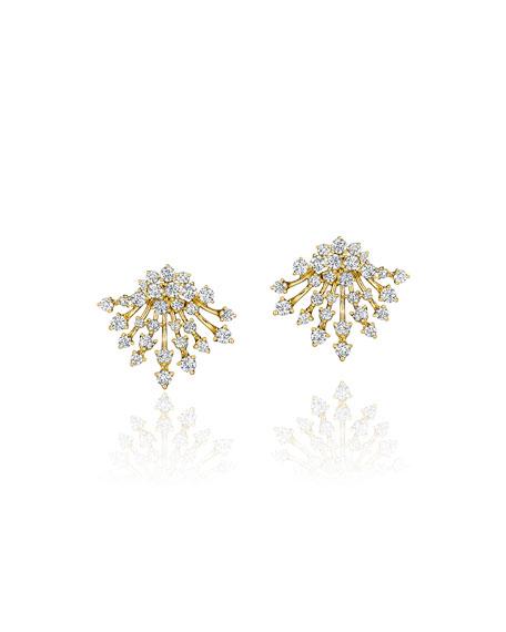 Hueb Luminus 18k Gold Diamond Button Earrings