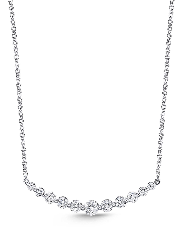 18k White Gold Diamond Curved Bar Pendant Necklace