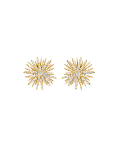 Tribal 18k Gold Diamond Stud Earrings