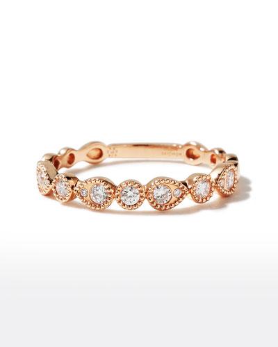 18k Rose Gold Round & Teardrop Diamond Band Ring, Size 6.5