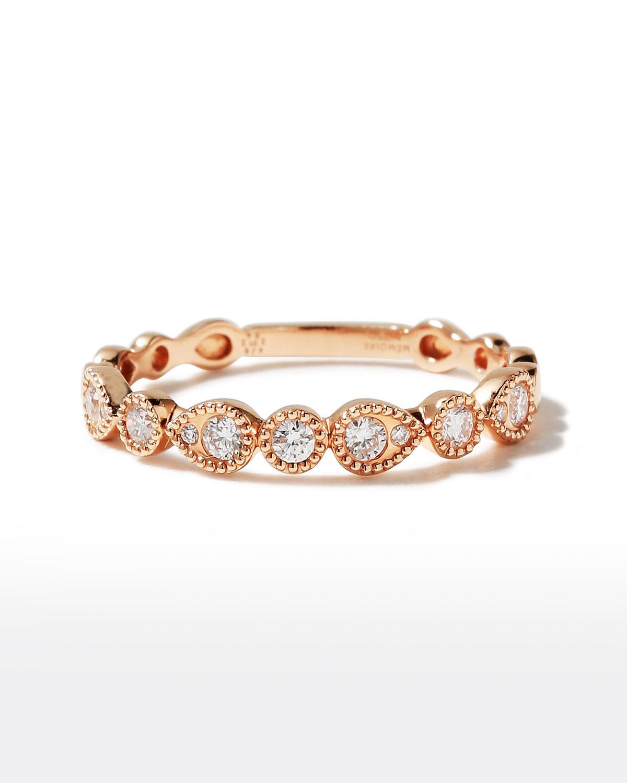 18k Rose Gold Round & Teardrop Diamond Band Ring