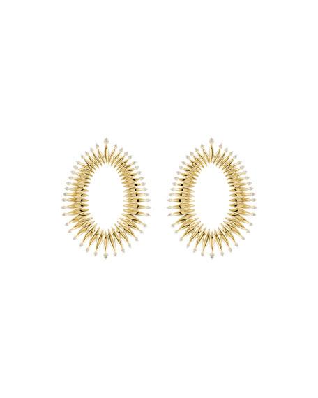Hueb Tribal 18k Gold Diamond Open Marquise Earrings