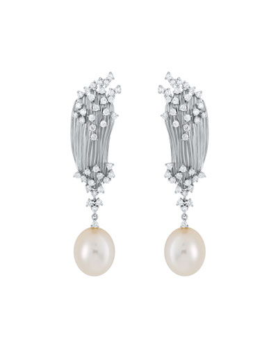 Plisse 18k White Gold Diamond & Pearl Earrings