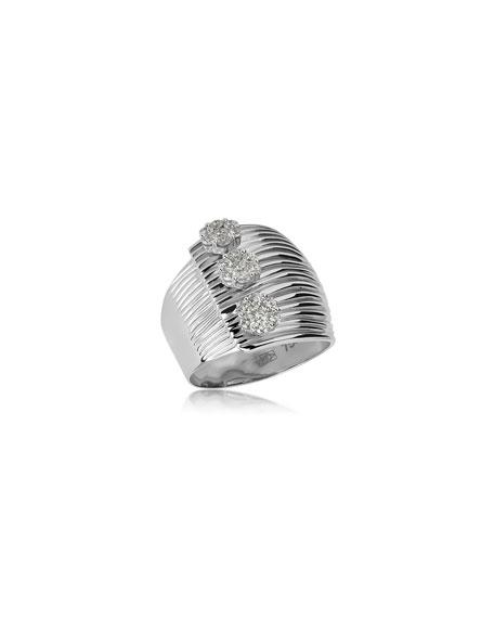 Hueb Plisse 18k White Gold Triple-Diamond Ring, Size 6.75