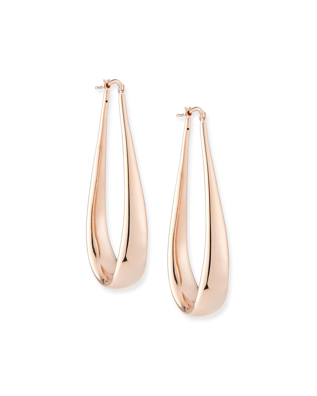 18K Rose Gold Electroform Oblong Hoop Earrings