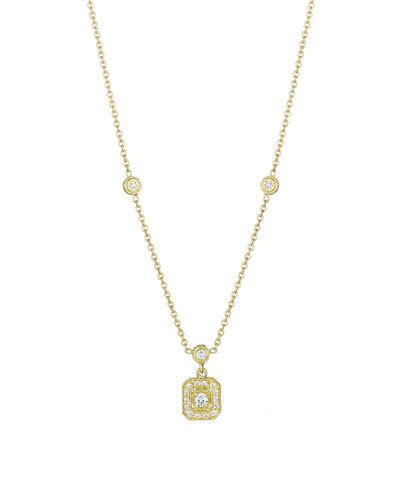 18k Gold Octagonal Diamond Pendant Necklace