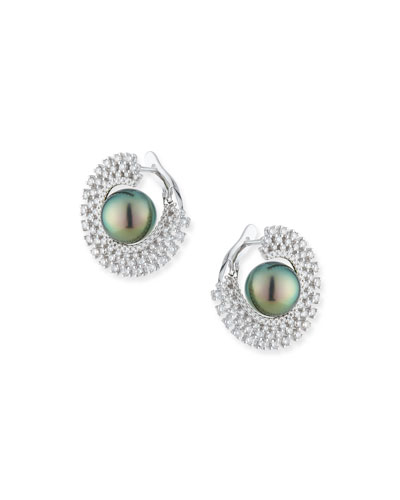 18k White Gold 10mm Tahitian Pearl & Diamond Hoop Earrings
