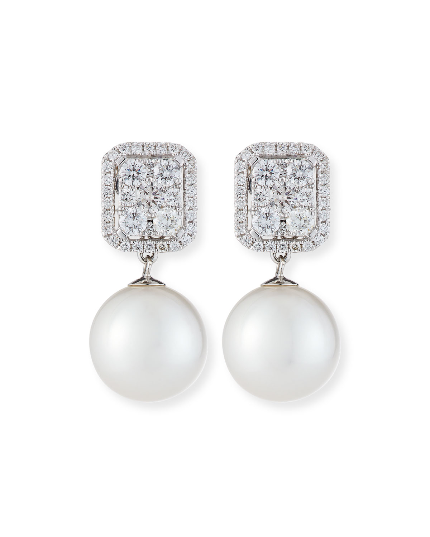 18k White Gold Diamond & Pearl Convertible Earrings