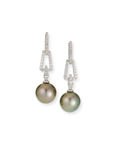 18k White Gold Diamond Interlock & Pearl Earrings