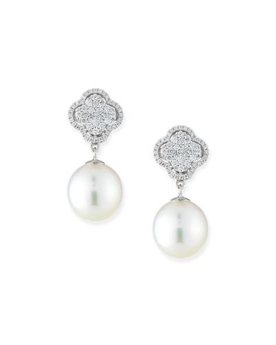 Whisper 18k White Gold Diamond & Pearl Convertible Earrings
