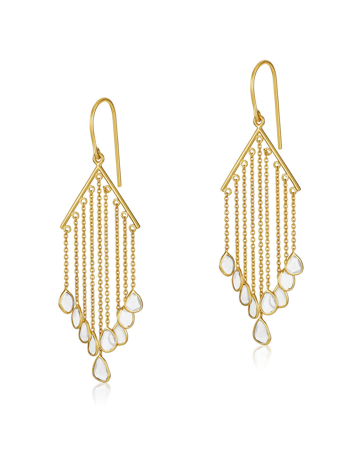 LEGEND AMRAPALI Polki Diamond Slice V-Bar Drop Earrings