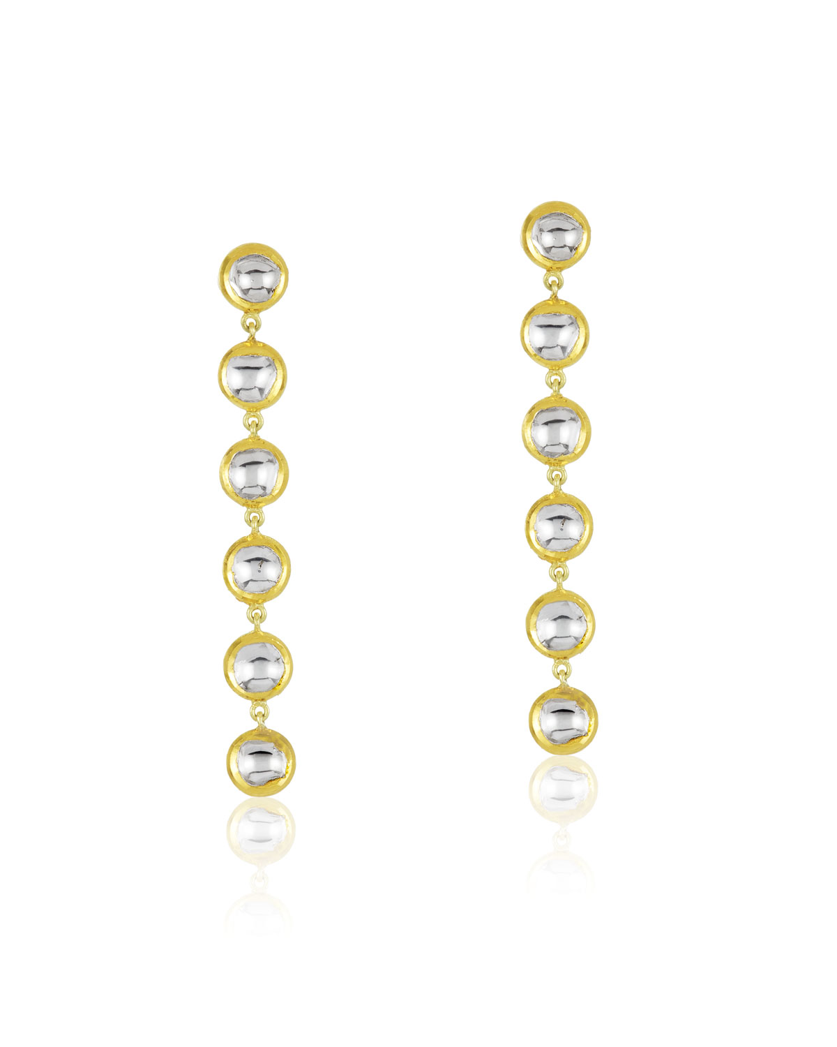 LEGEND AMRAPALI Kundan Vintage Diamond Round Linear Earrings In 18K Gold
