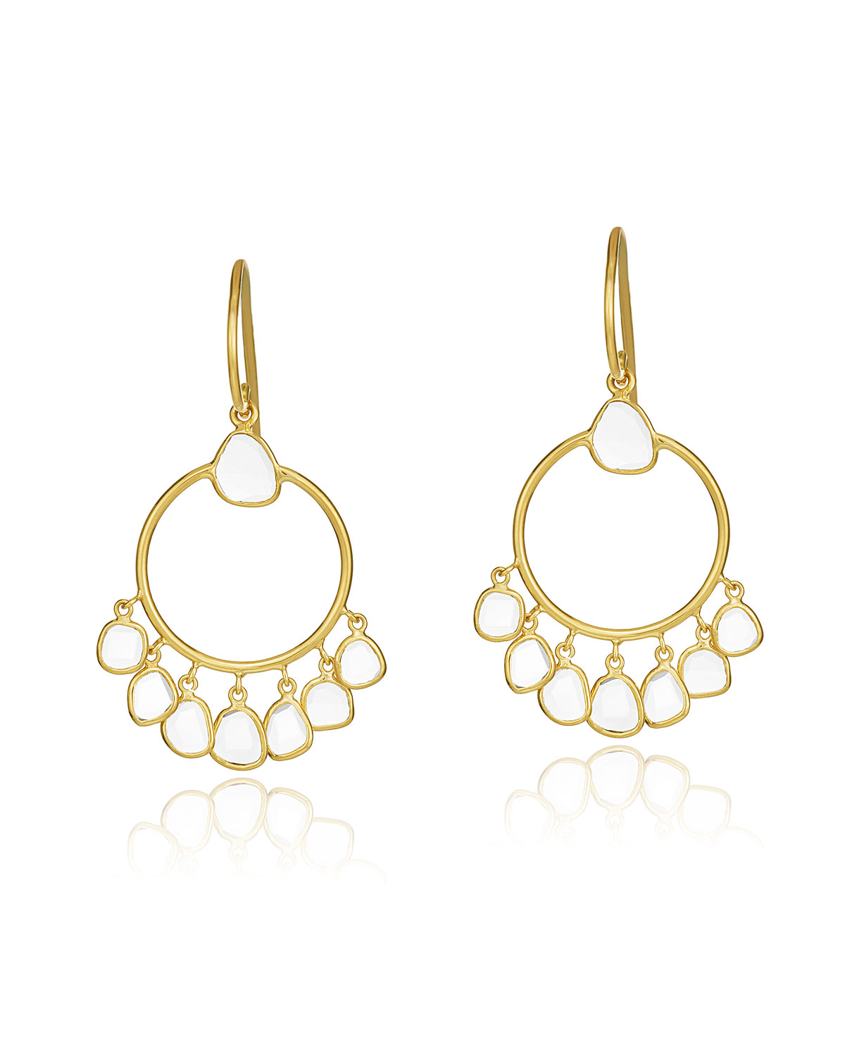 LEGEND AMRAPALI Polki Diamond Slice Hoop Drop Earrings