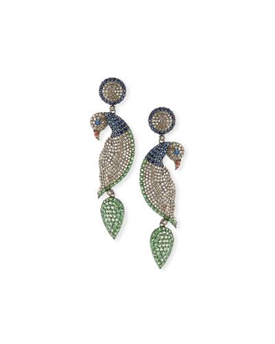 Diamond, Sapphire & Tsavorite Parrot Earrings
