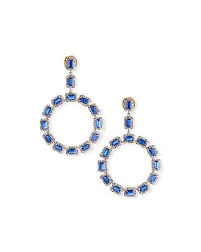 Kyanite & Diamond Hoop Drop Earrings