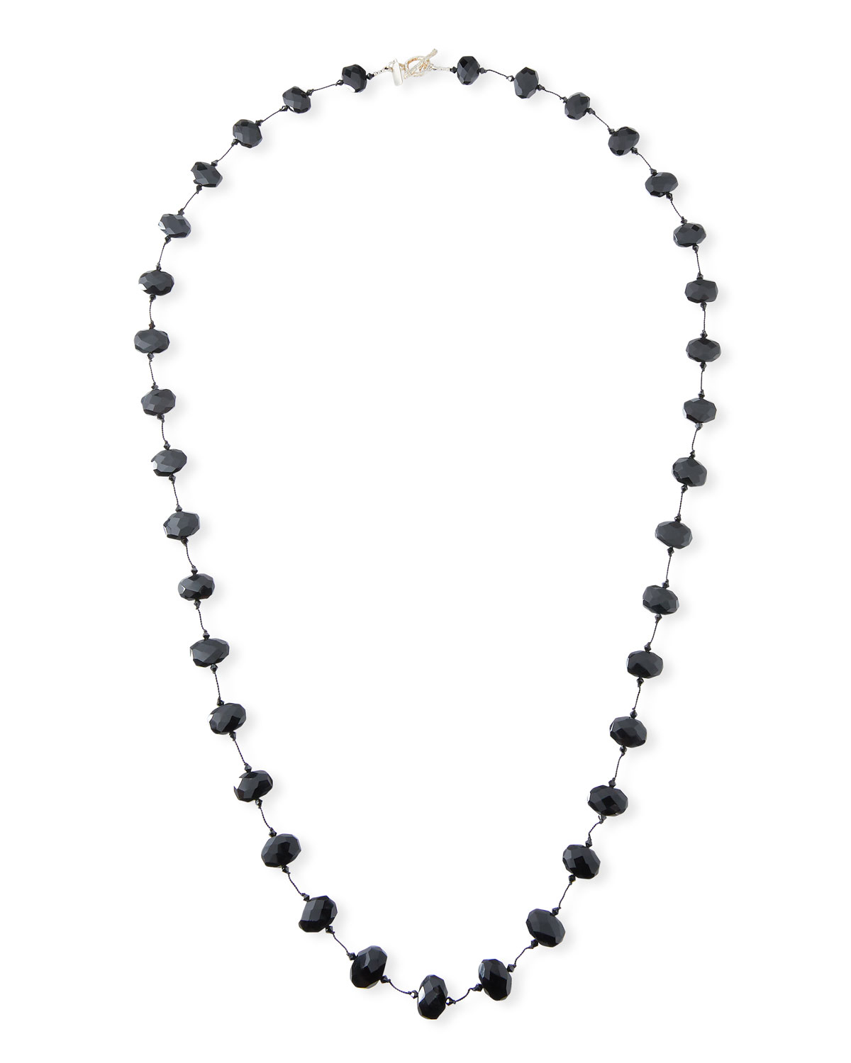 "MARGO MORRISON Faceted Black Garnet Necklace, 35""L"