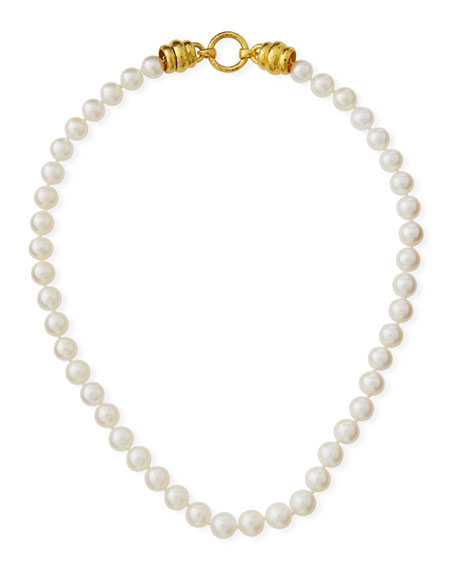 Elizabeth Locke Pearl-Strand Martin-Clasp Necklace