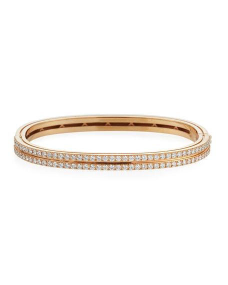 Roberto Coin Portofino 18k Rose Gold Diamond 2-Row Bangle