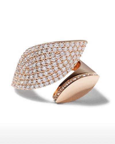 18k Rose Gold Diamond Petal Ring, Size 7