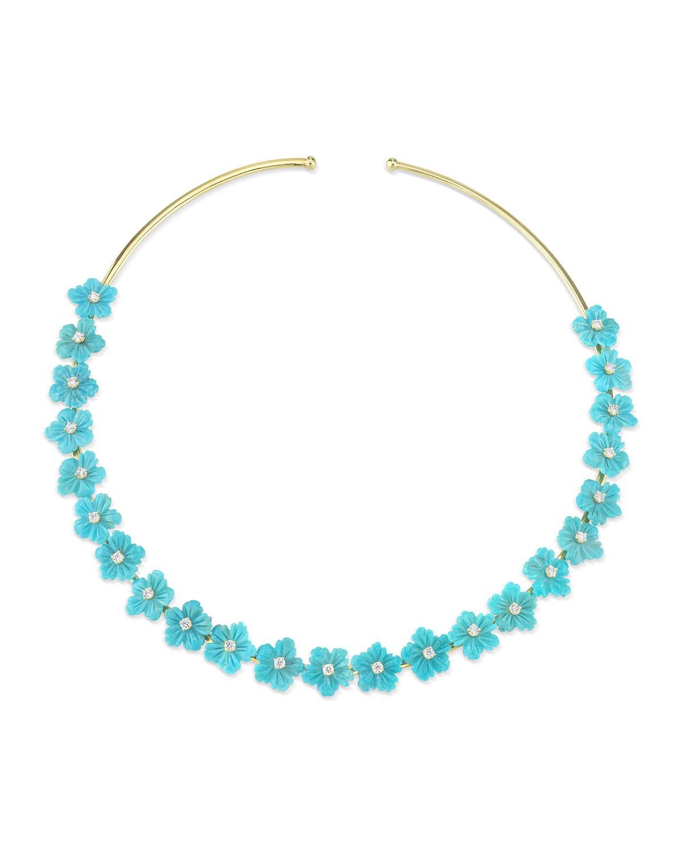 18k Gold Turquoise & Diamond Flower Choker Necklace