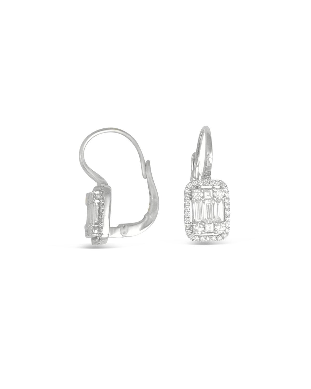 FREDERIC SAGE 18K White Gold Mini Diamond Rectangular Cluster Earrings