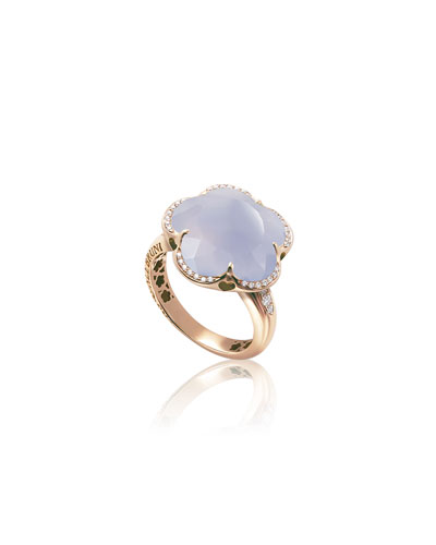 Bon Ton 18k Rose Gold Chalcedony Ring w/ Diamonds
