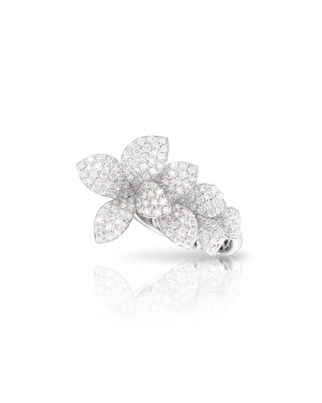 Pasquale Bruni Giardini Segreti 18k White Gold Diamond Flower Ring, Size 6.25