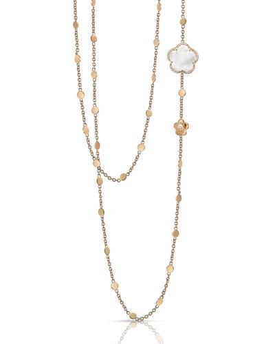 Bon Ton 18k Rose Gold White Quartz Necklace