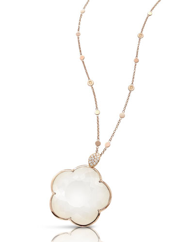 Bon Ton 18k Rose Gold White Agate & Diamond Necklace