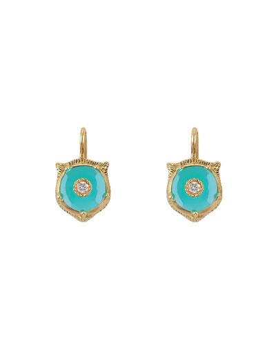 18k Gold Le Marche des Merveilles Turquoise Feline Earrings
