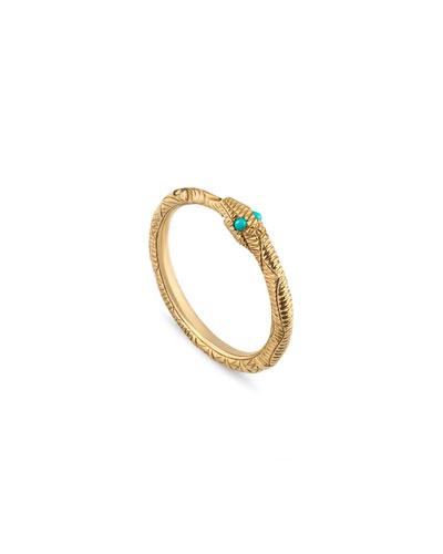 Ouroboros Snake Ring w/ Turquoise, Size 6.75
