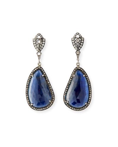 18k White Gold Sapphire Drop Earrings w/ Diamonds