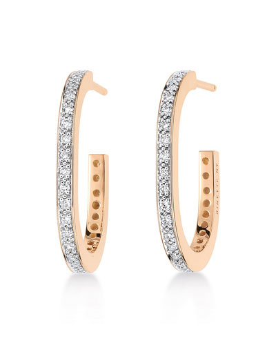 TV 18k Rose Gold Diamond Hoop Earrings