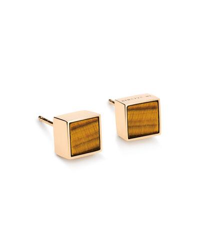 Ever 18k Rose Gold Square Stud Earrings, Tiger Eye