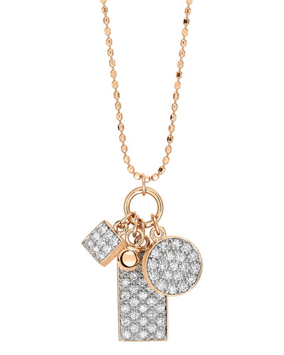 Ever 18k Rose Gold Diamond 3-Charm Necklace