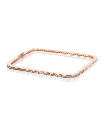Piece 18k Rose Gold Cocoa Diamond Square Bangle