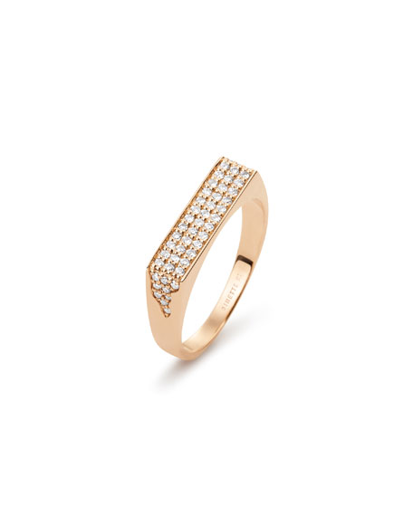GINETTE NY 18k Rose Gold Diamond Signet Ring, Size 7