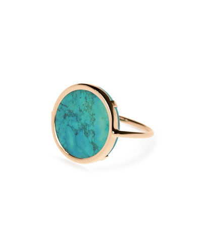 Fallen Sky 18k Rose Gold Turquoise Disc Ring, Size 6