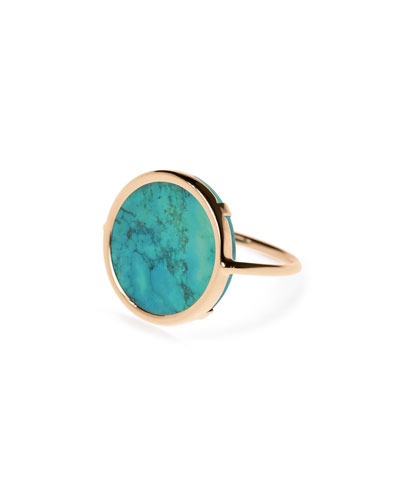 Fallen Sky 18k Rose Gold Turquoise Disc Ring, Size 7
