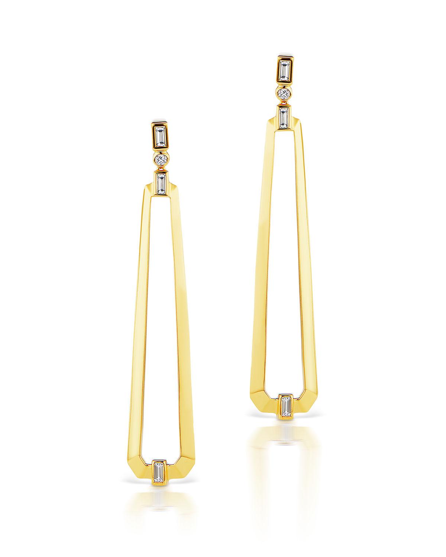 18k Narrow Trapezoid Earrings w/ Diamonds