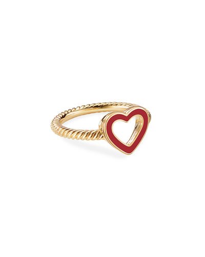 Cable Collectibles 18k Gold Heart Ring in Red, Size 7