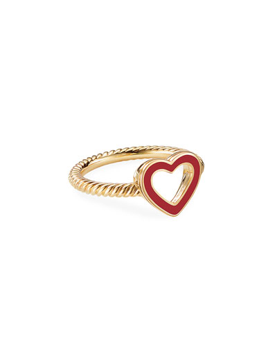 Cable Collectibles 18k Gold Heart Ring in Red, Size 5